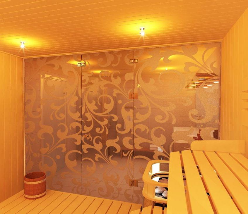 Стеклянная перегородка в бане: преимущества стекла